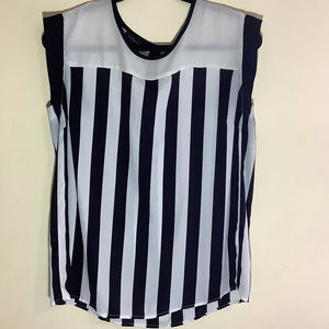 Metaphor Striped Casual/ Career Sleeveless Blouse